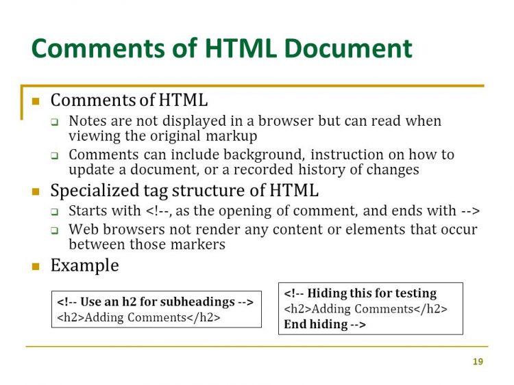 کامنت ها در html