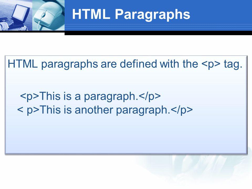 پاراگراف های html